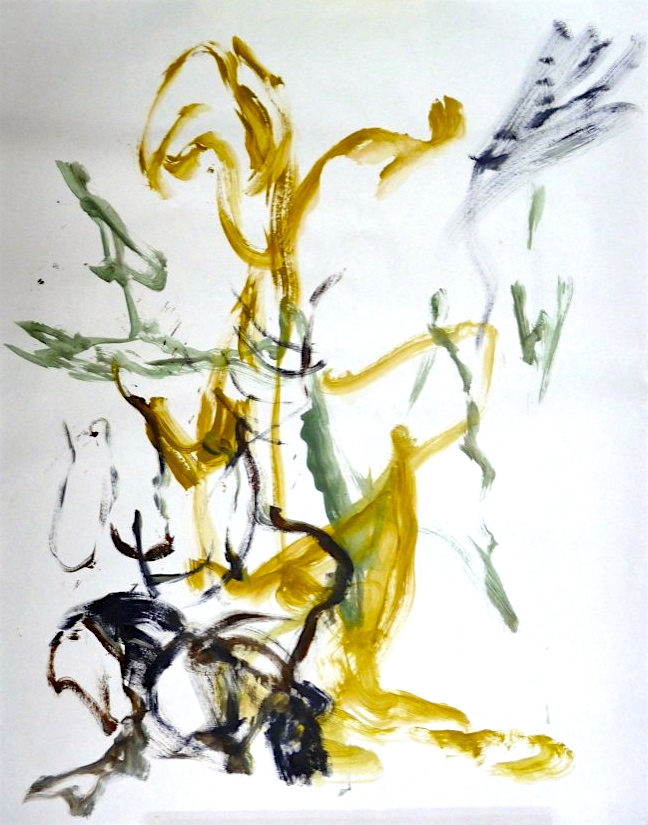 untitled gesture drawing #1, acrylic, Canadian contemporary artist Barbra Edwards, Pender Island, BC