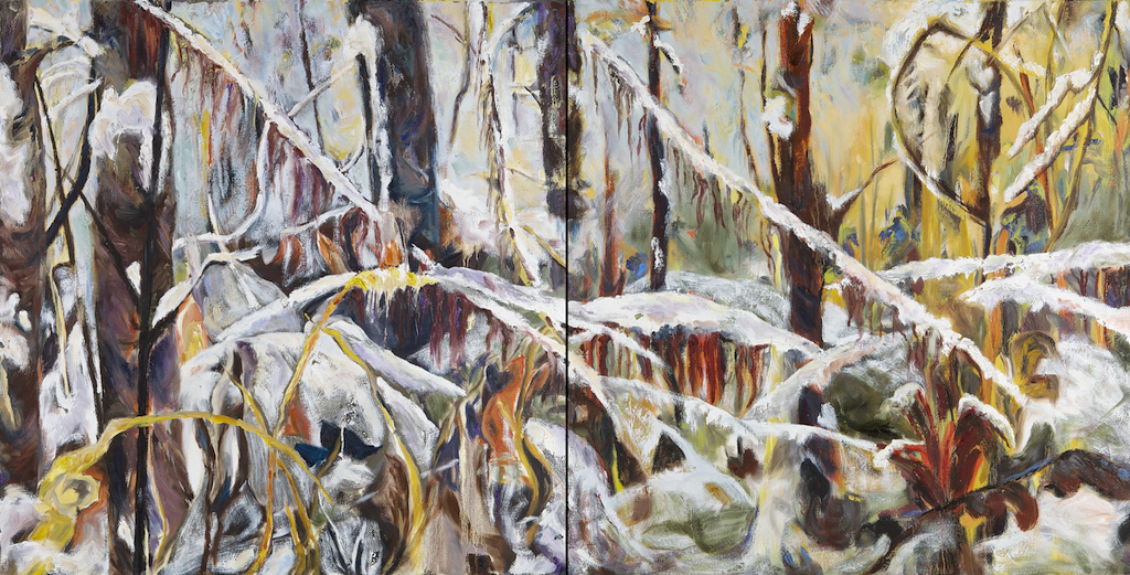 Forest Decoded III by barbra edwards, Canadian abstract artist on Pender Island, BC