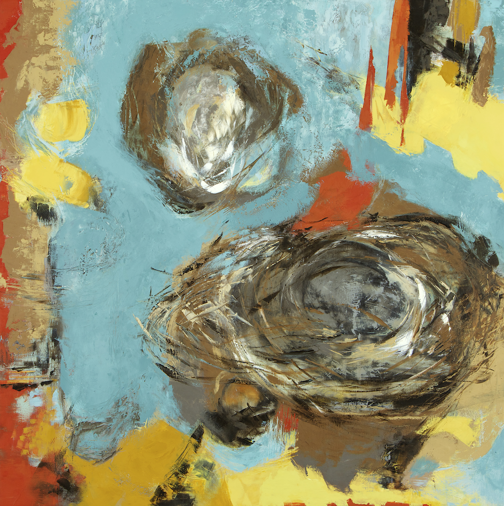 nest ll by pender island contemporary artist barbra edwards wax and oil on panel