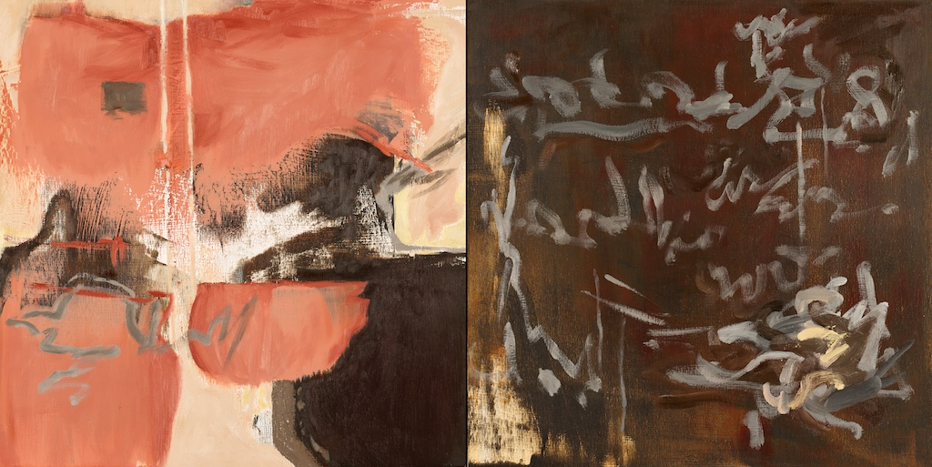 Shift 1 oil/wax on panel, diptych by Pender Island, BC artist barbra edwards