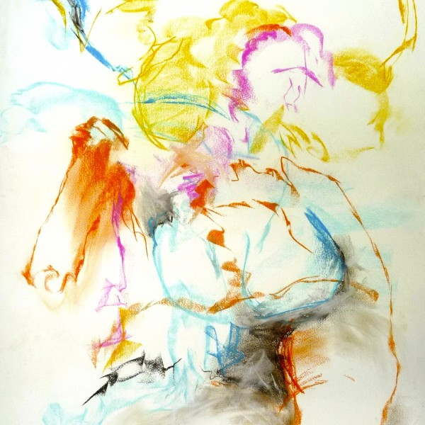 untitled gesture drawing, pastel, contemporary artist Barbra Edwards, Pender Island, BC