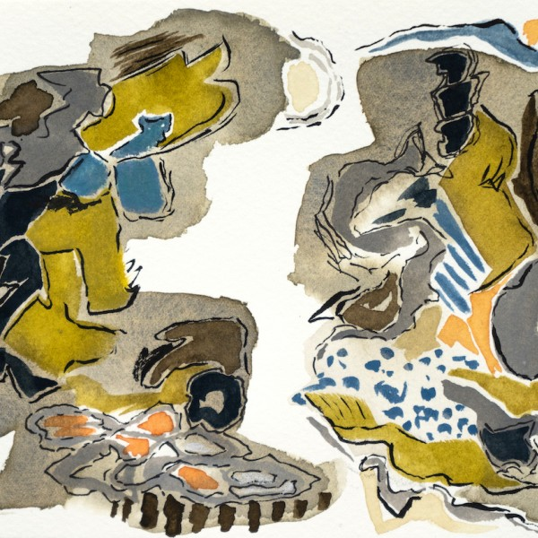 untitled (two landscape forms) mixed media paintings by Canadian abstract painter barbra edwards, Pender Island, BC