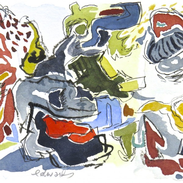 beach series 2, watercolour by Canadian abstract artist Barbra Edwards, Gulf Islands, BC