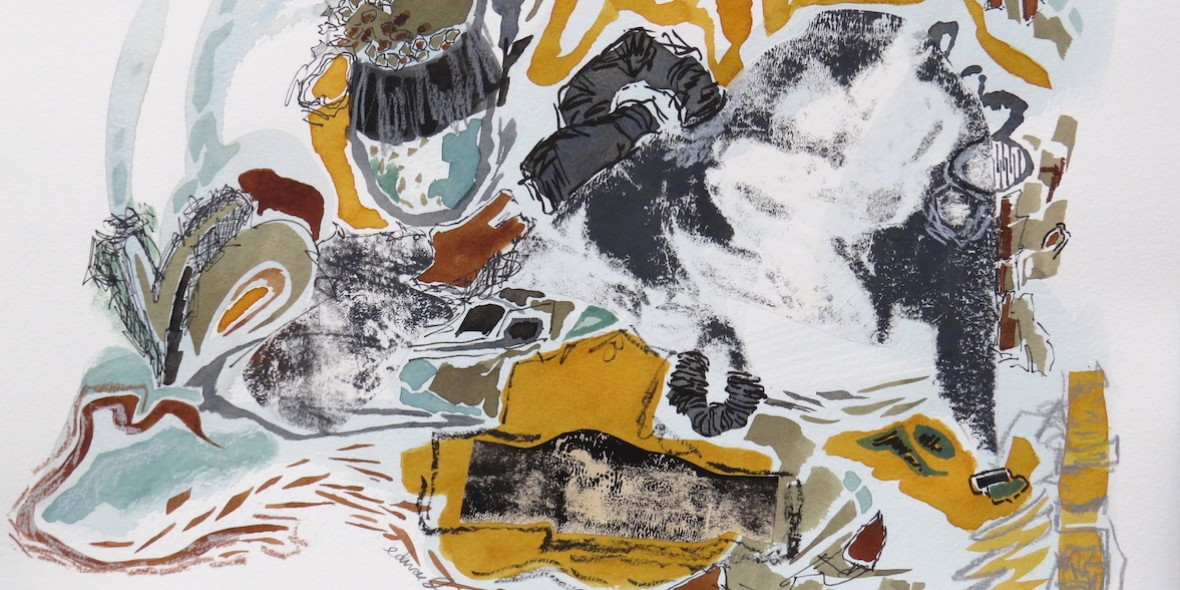 slinky mixed media on paper by Canadian abstract painter barbra edwards Gulf Islands, BC