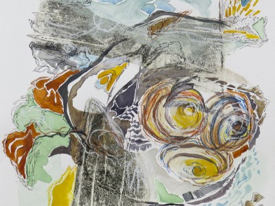 tidal bore_mixed media on paper_by canadian contemporary painter barbra edwards, Pender Island, BC