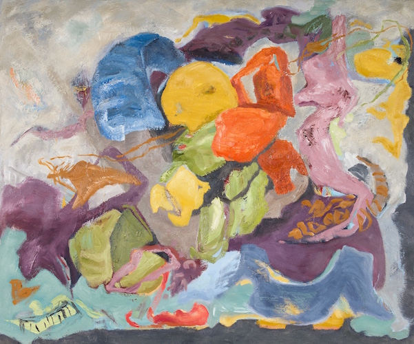 the man who flew kites, oil/wax on panel by Gulf Islands, BC contemporary artist barbra edwards